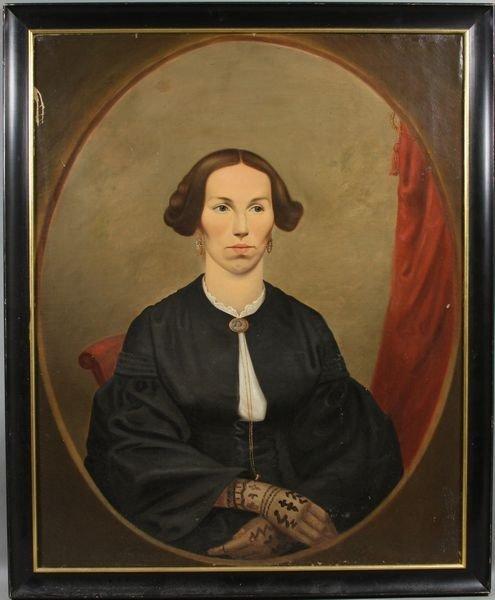 7013A: C1860 American School Portrait of Woman, o/c