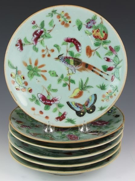 1005: Six Chinese Export 19th C. Famille Verte Plates