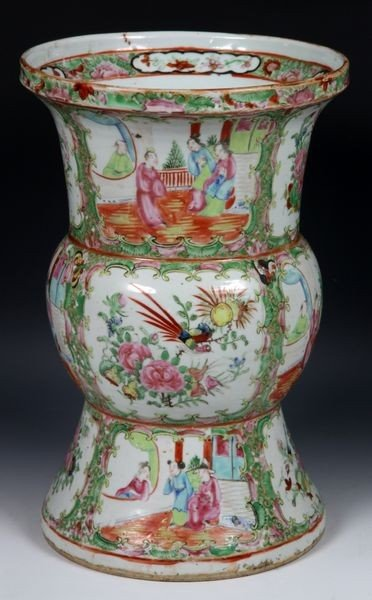 1024: Chinese 19th C. Export Famille Rose Gu Vase