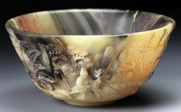 1210: Chinese 19th C. Rhinoceros Horn Carved Bowl