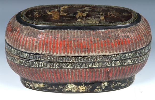 1261: Chinese 18th-19th C. Lacquered and Gilt Box