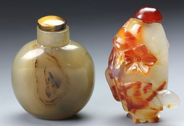 1270: Two Chinese 19th C. Agate Snuff Bottles