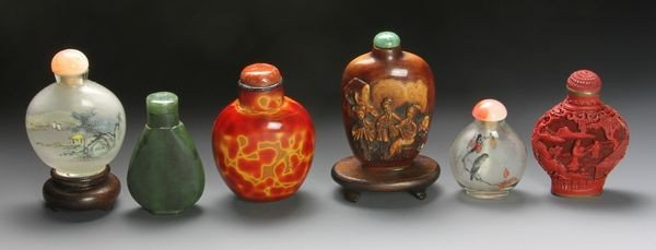 1274: Six Chinese 19th - 20th C. Snuff Bottles
