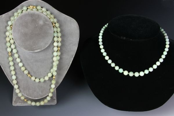 1279: Two Chinese 20th C. Jade Necklaces