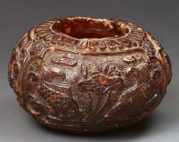 3045: Chinese 19th - 20th C. Amber Brush Pot