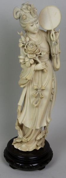 3094: Hand-Carved Ivory Figure of a Woman