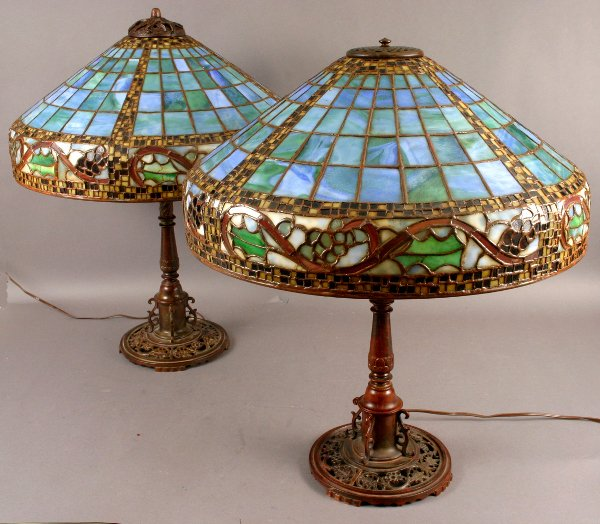 6: PAIR OF EARLY 20TH C. OSCAR BACH  MOSAIC GLASS LAMPS