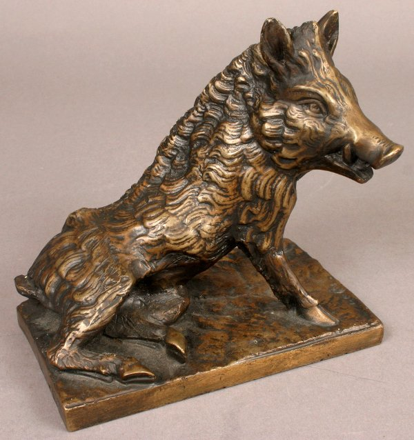 11: SIGNED VICTOR CHEMIN BRONZE SCULPTURE OF BOAR