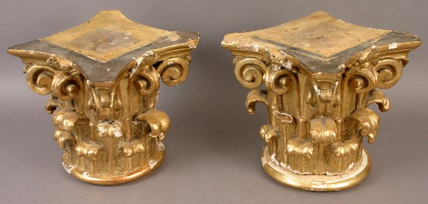 15: PAIR OF 19TH CENTURY CARVED CORINTHIAN COLUMNS