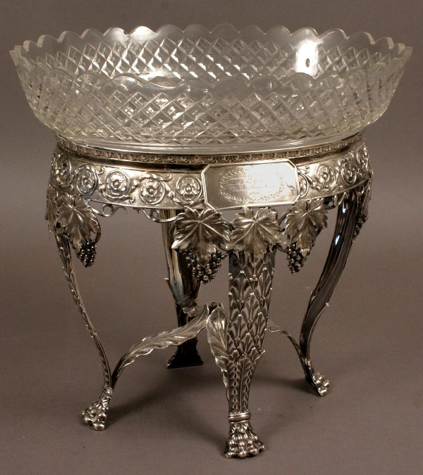 19: 19TH CENTURY ANGLO-IRISH BOWL ENGLISH SILVER STAND