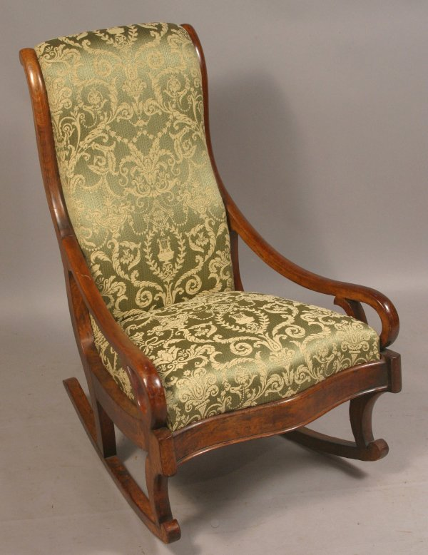 380: 19TH CENTURY UPHOLSTERED ROCKING CHAIR