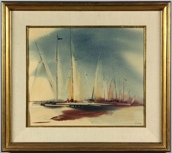 6004: Darvas, Sailboat, w/c