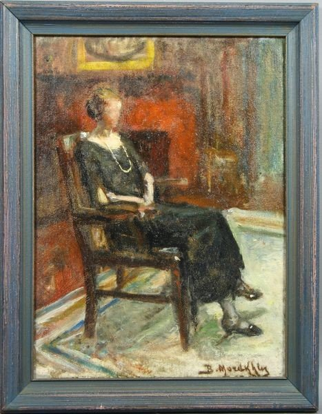 6017: Signed Portrait of Seated Woman w/ Pearls, o/c