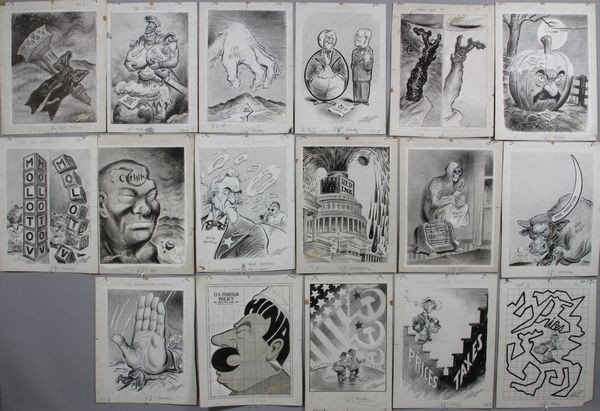 6021: Russell, Lot of 17 drawings, charcoal