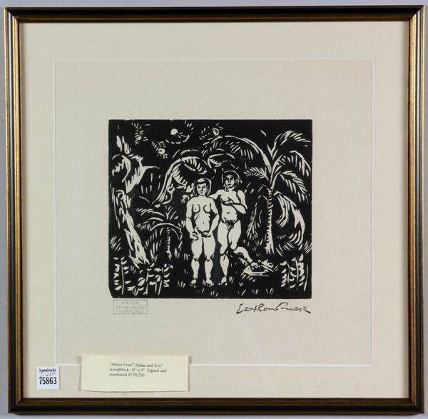 6087: Friez, Adam and Eve, Woodblock