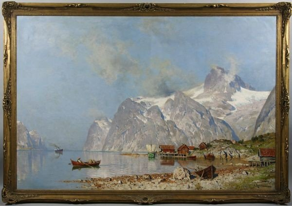6091: Moras, Village near Fjord, O/C