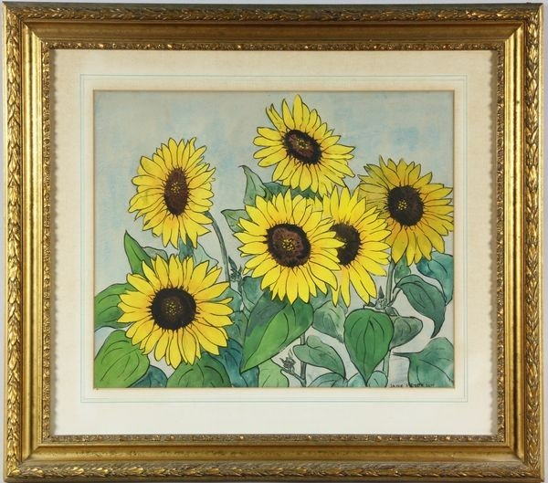 """5103: Peterson, """"Sunflowers"""", Watercolor"""
