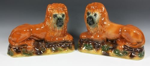 8012: Pair of Staffordshire Lions