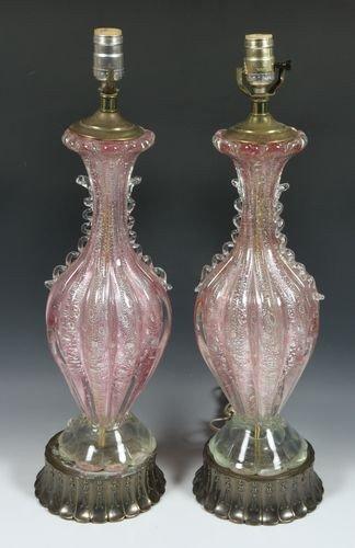 9031: Pair of Murano Glass Lamps