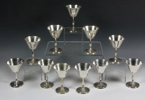 9072: Twelve Sterling Silver Wine Stems
