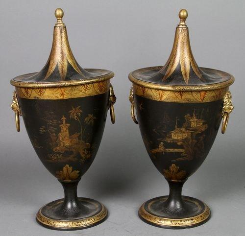 9087: Pair of Tole Chestnut Jars