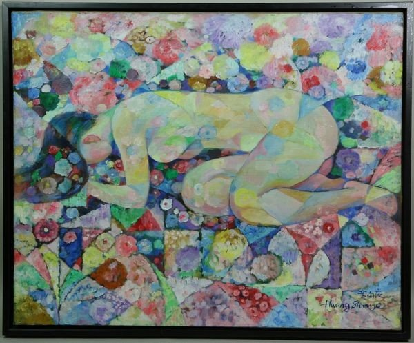 "7057: Huang, ""A Model with Flowers,"" O/C"