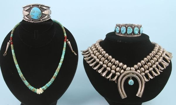 2064: Lot of 4 Silver and Turquoise Jewelry