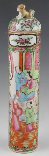 Chinese 19th C. Rose Medallion Incense Holder
