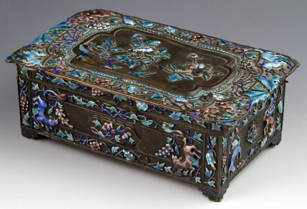 Chinese 19th C. Enameled Jewelry Box