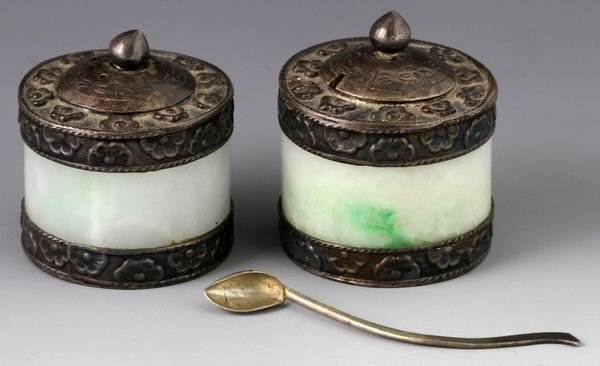 Chinese 20th C. Jadeite Salt and Pepper Cellars