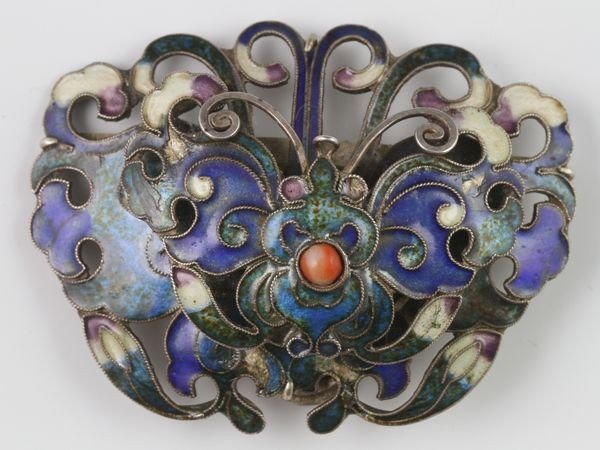 Chinese 20th C. Enameled Silver Pin