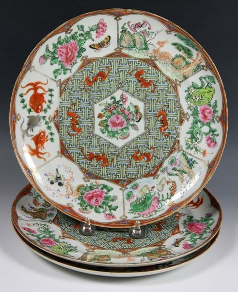 Chinese Three (3) Famille Rose Plates