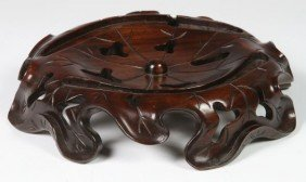 Chinese 20th C. Carved Wood Stand