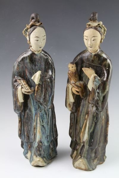 Pair of Chinese 19th C. Stoneware Figures