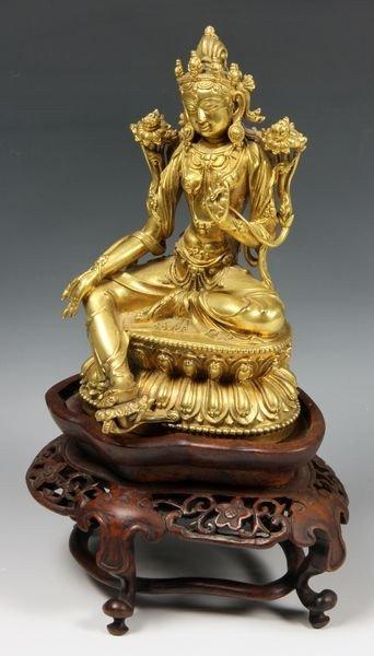 Sino-Tibetan 18th C. Bronze Figure