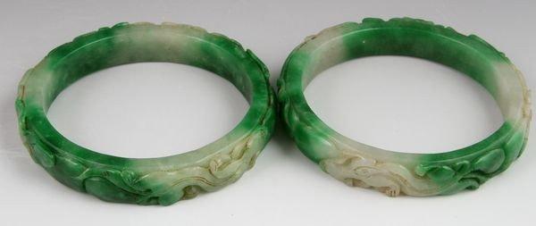 Two (2) Chinese 19th C. Jadeite Bangles