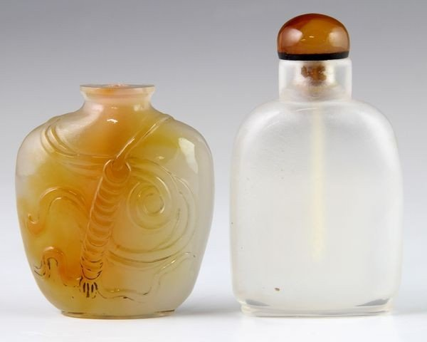Two (2) Chinese 19th C. Agate Snuff Bottles