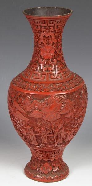 Chinese 19th C. Cinnabar Vase