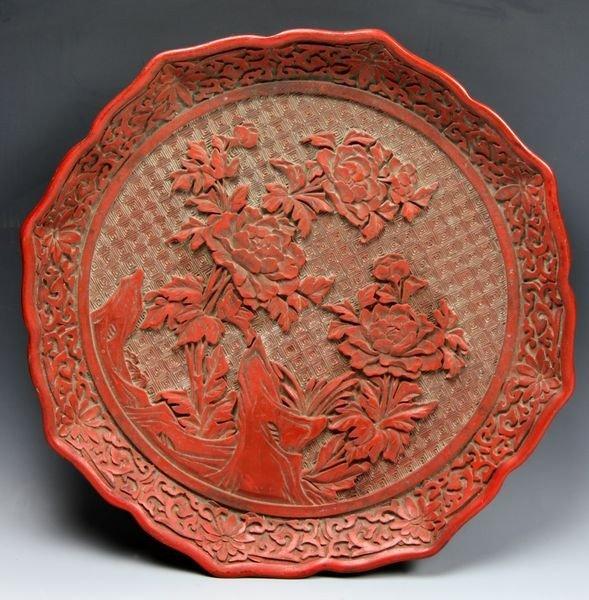 Chinese 19th C. Cinnabar Plate