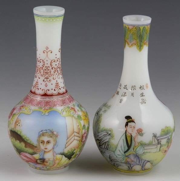 Chinese 19th C. Glass Vases