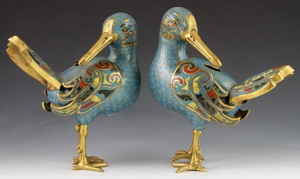 Chinese 19th C. Cloisonné Censers