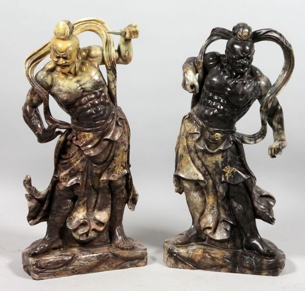 Pair of Chinese 19th C. Lokapala Guardians