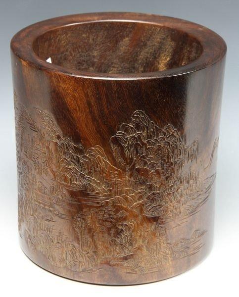 Chinese 18th C. Zitan Brush Pot