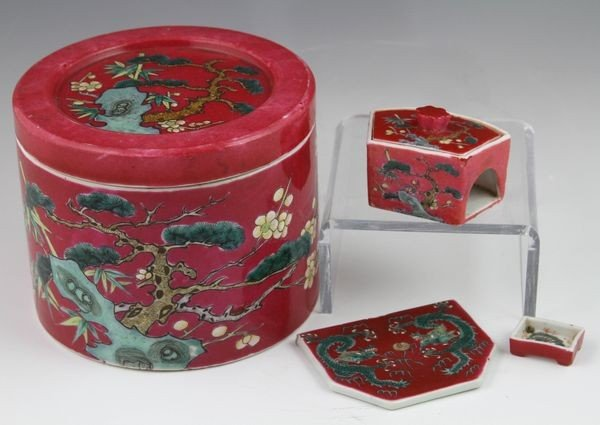 6002: Chinese 19th C. Porcelain Cricket Fighting Arena