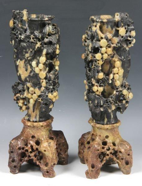 6019: Two (2) 20th C. Soapstone Vases