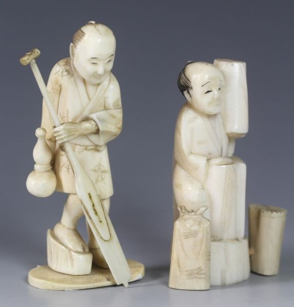 6020: Two (2) Ivory Figures