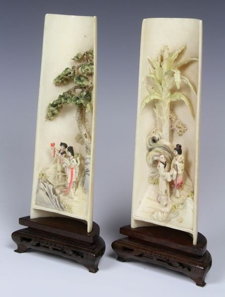 6139: Two (2) Chinese 19th/ 20th C. Carved Ivory Sleeve