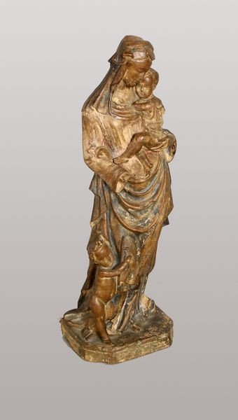 7007: Neopolitan Terracotta Madonna and Child Reliquary