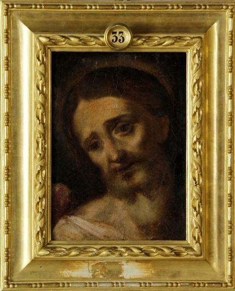 7009: Antique Italian Portrait of Christ, O/B