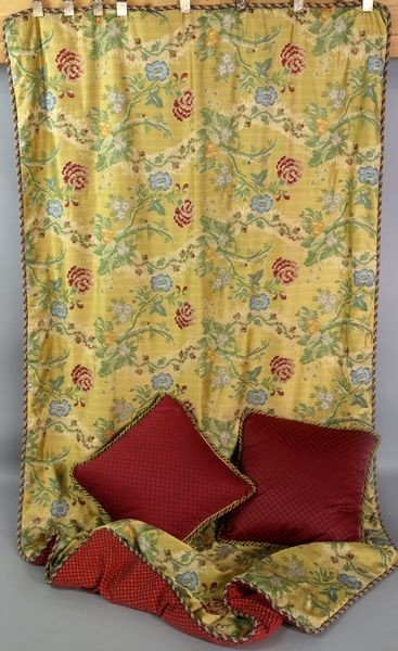 8017: English Gold and Silk Bed Puff and Down Pillows